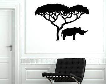 Rhino Tree Vinyl Wall Decal African Landscape Nature Africa Art Stickers Mural (#2595di)