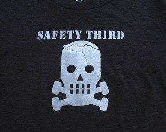 Womens Cracked Skully Safety Third tshirt  Concussion Safety 3rd Black, Gray, Maroon  fitted tshirt womens tshirt