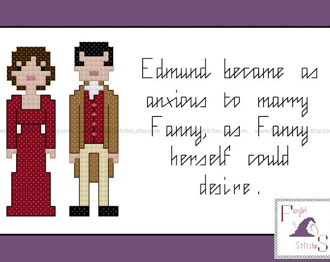 Jane Austen's Mansfield Park Characters and Quote cross stitch pattern - PDF pattern - INSTANT Download