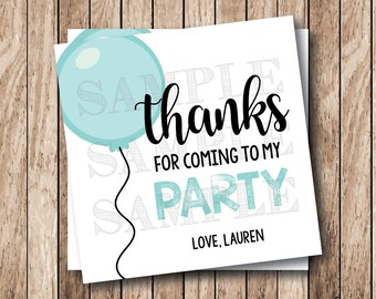 Personalized Printable Thank You Tags, Printable Balloon Thank You Tags, Birthday Thank You Tags, Party Favor Tags