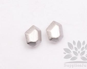 E235-MR// Matt Rhodium Plated Metal Gem Post Earring, 2pcs