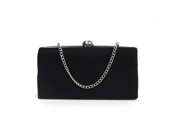 Vintage Small Black Satin Kiss Lock Evening Bag (E9738)