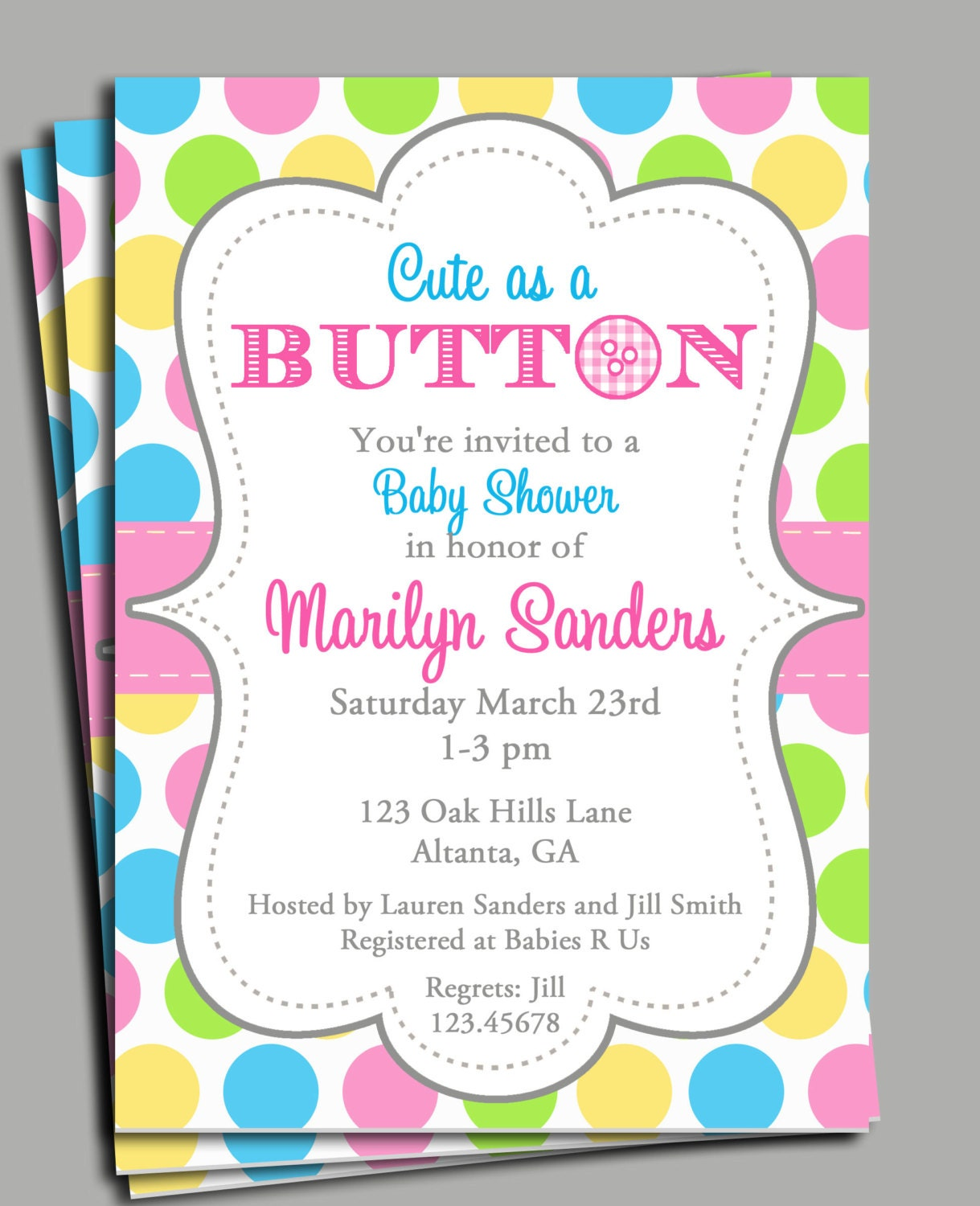 Cute as a Button Invitation Printable or Printed with FREE