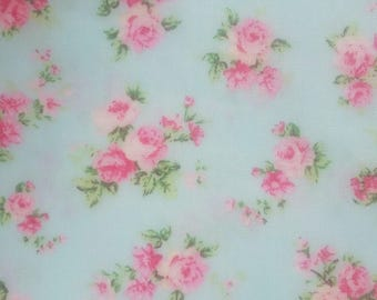 Pink Rose Shabby Chic Cotton Fabric