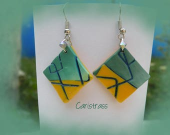The Brazil color square earrings