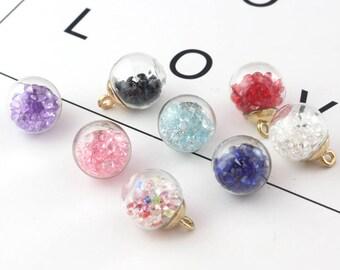 5pcs 16MM Glass Globe Charms Crystal Charms Crystal Ball Charm Rhinestone Inside Terrarium Pendant DIY Jewelry Finding