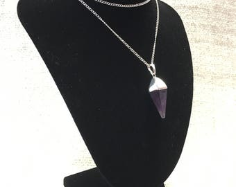 Silvered Amethyst Reiki Healing Crystal Pendulum Necklace