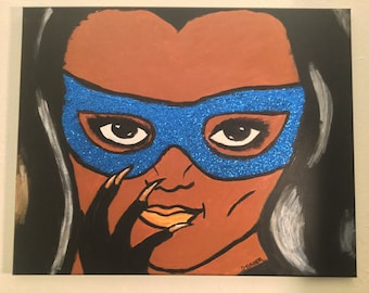 Cat woman glitter art eartha kitt super hero superhero decor comic book comic wall art acrylic painting black woman girl magic villain