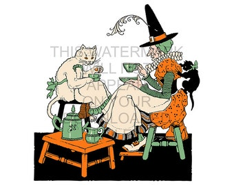 1920s Halloween - Witch Having Tea With her Cats - Instant Digital Image Download File