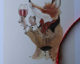 A Very Fine Nose - limited edition print by artist Leila Winslade from the Farcical Foxes range.