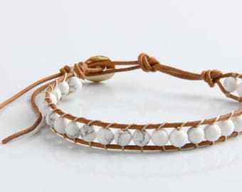 Leather Bracelet Men or Women 1 Layer Natural Stone Bead Bracelets & Bangles Leather Beaded Bracelet With Real Leather Cord