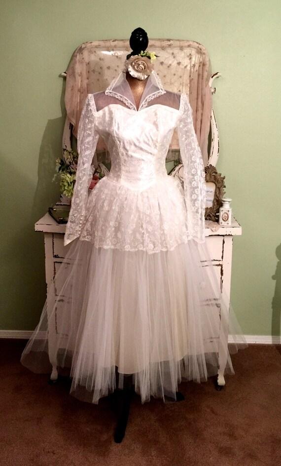 Vintage Ballerina Wedding Dress Short Tulle Wedding Gown