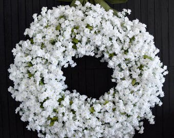 White Ruffle Flower Front Door Wreath