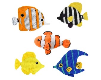 Tropical Fish Crochet Pattern, Amigurumi Fish Crochet Pattern Set: Clownfish, Striped Boarfish, Angelfish, Tang Fish, Butterfly Fish