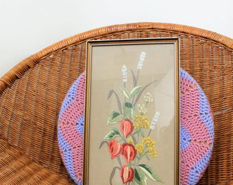 1970s Floral Embroidered Picture