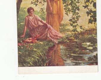 Neoclassical Women Relax Under Trees/Pond Grecian Costume