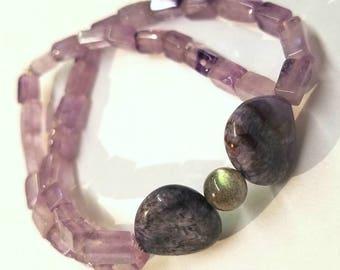 "7"" Amethyst & Labradorite Two-Strand Beaded Stretch Bracelet"