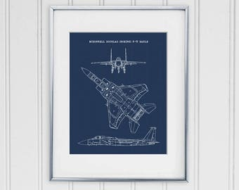 Airplane blueprint etsy f 15 eagle blueprint f15 eagle art instant download f 15 aircraft art air force decor aviation wall art 8x10 11x14 malvernweather Image collections
