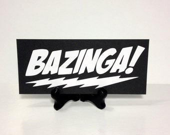 Bazinga Vinyl Wall Art,  Sheldon Cooper Vinyl Decals, Big Bang Theory Stickers, Bazinga Vinyl Decal, 6 Inch Bazinga Sticker, Vinyl Word Art