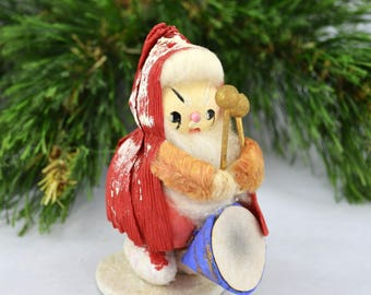 Vintage Paper Mache Santa Playing A Drum, Mid Century Paper Mache' Santa Made In Japan