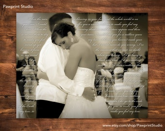 CUSTOM PRINTABLE: Wedding First Dance Photo With Song Lyrics (Customizable)
