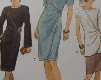 Tapered Dress or Top with Bias Front Overlay and Skirt in Sizes 6 to 10 Complete Uncut/FF Vintage 1990s Vogue Sewing Pattern 8999