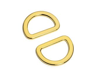 "10pcs - 1"" (25mm) Flat Zinc D-Ring - Gold - (FDR-109) - Free Shipping"