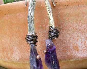 Sterling silver and rough cut amethyst earrings February birthstone