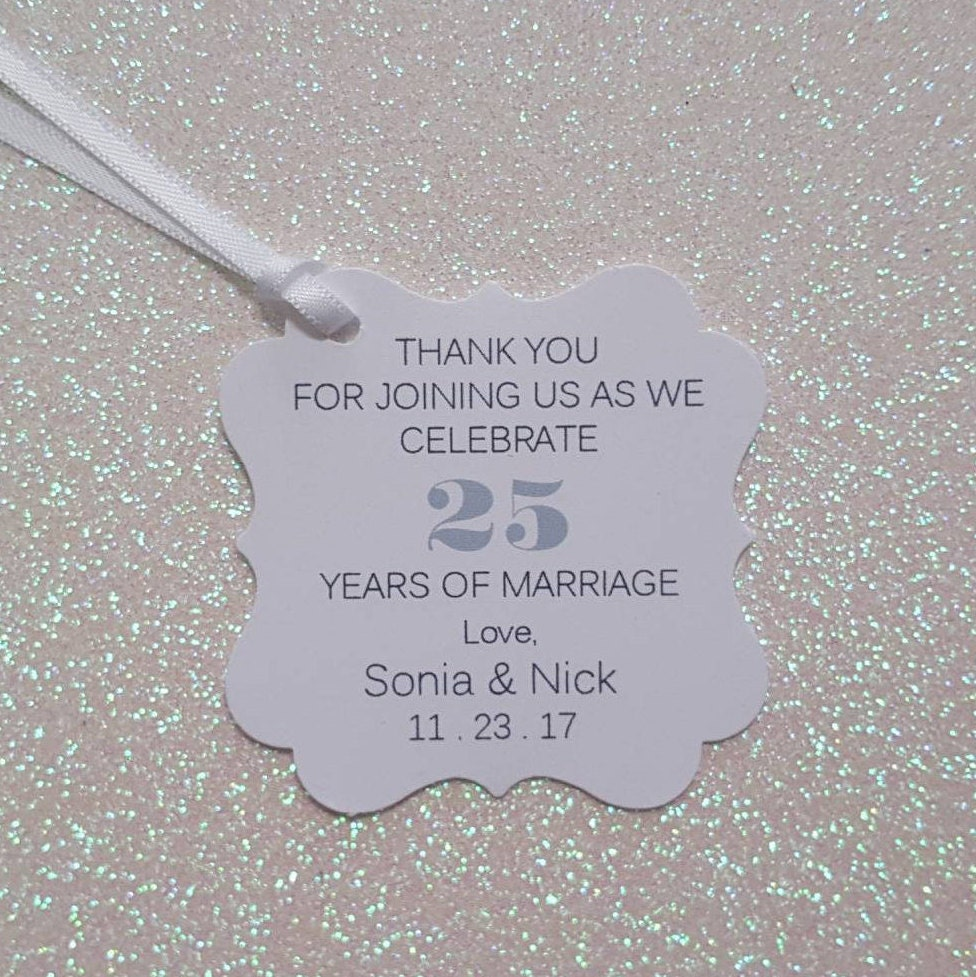 WEDDING ANNIVERSARY Favor Tags 25th Anniversary Thank You