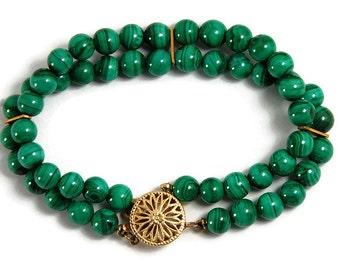 Malachite Bracelet Double Strand Bracelet Luxury Jewelry Handmade Green Bracelet Mother's Day Malachite Jewelry