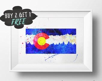 Colorado Flag Decor, Colorado Colorado Printable, Colorado Decor,  Wall Art Print Decoration Print Colorado Flag Gift Blush Pink Poster