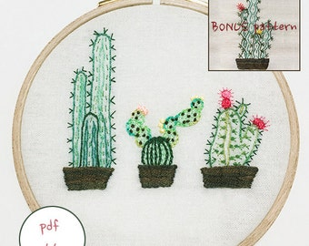 plus bonus pattern /PDF / JPEG(JPG) - The Three Cacti / cactus  With Tiny  Flowers Modern Hand Embroidery Pattern_NEW_Updated_Guide!