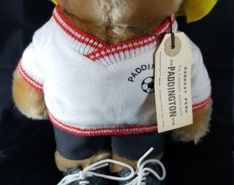 "Vintage Paddington Bear soccer Player (Yellow Hat). Darkest Peru To London. Pre-Owned 10.5"" Tall"