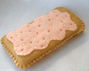 Strawberry Toaster Pastry Felt Phone Case, Breakfast Tart Phone Cozy, Iphone, Android