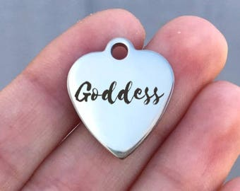 Goddess Stainless Steel Charm - Goddess - Laser Engraved - Silver Heart - 19mm x 22mm - Quantity Options - ZF207