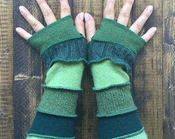 Green Fingerless Gloves Made from Upcycled Sweaters