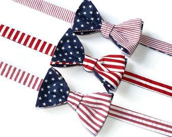 American Flag Bow Tie~Mens Self Tie Bow Tie~Mens PreTied~Anniversary Gift~Wedding Tie~Flag Tie~Merica~Forth of July~Old Glory~
