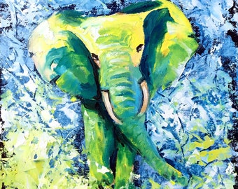 Elephant painting, Original oil painting, Abstract animal art by Tetiana