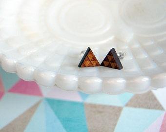 wooden laser cut triangle post earrings- triforce- geometric- bamboo