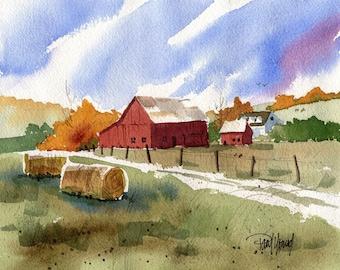 Warm Autumn country barn scenic landscape-Print landscape