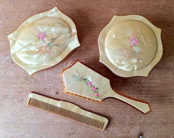 Antique Child's Celluloid Dresser Vanity Set Hand Painted Yellow Pink of 6 1920s
