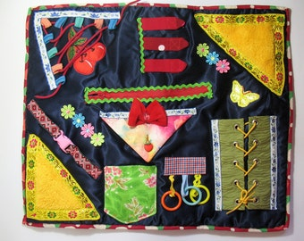 Colored Fidget Blanket Activity Sensory Elements Tactile Busy Quilt Dementia Awareness Alzheimer Aid Elderly Comfort Therapy Blanket Gift