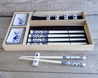 Japanese Chopsticks Set with Chopstick Rests and Saucers, Vintage Chopstick Set hand painted, Lot of 5 Chopstick Set, Sushi, Japanese Table