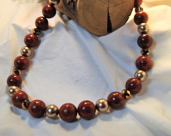 Red Coral and Gold Toned Necklace