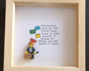 Lego inspired Ed Sheeran minifigure framed art