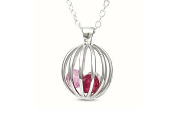 Sterling Silver Crystal Set Cage Ball Pendant and Adjustable Chain, Pretty Crystal Set Facet Cut Stones