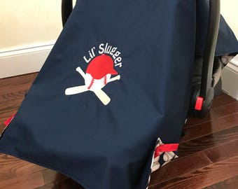 Baby Car Seat Tent Sports, Baseball Baby Shower Gift, Shower Gift, Baby Carrier Cover, Sports Car Seat Cover, Navy and Red Car Seat Canopy