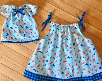 Matching Dresses for Girl and Doll, doll dress, matching girl and doll outfit