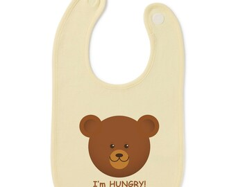 Hungry Bear Funny Slogan Baby Bib Humour Gift Present Baby Shower Birthday