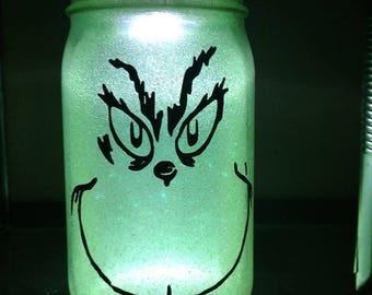 Glittered, illuminated - Grinch -Mason jar